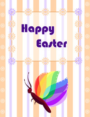Easter greeting card with colorful butterfly.