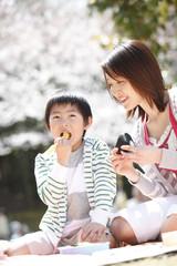 桜の下で弁当を食べる母子