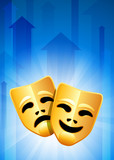 Comedy and Tragedy Masks on Blue Background