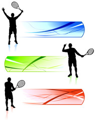 Tennis Players with Banners