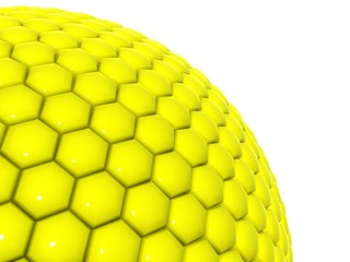 yellow mesh over the ball, cellular communication