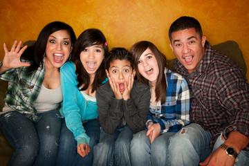 Hispanic Familywith Big Reaction