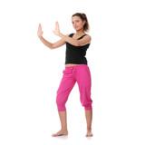 Beautiful young woman doing yoga exercise