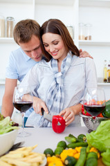 Intimate couple preparing dinner