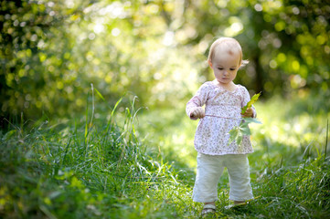 Little baby in a forest holding maples leaves