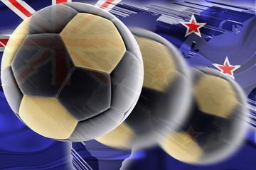Flag of New Zealand wavy soccer