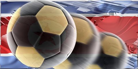 Flag of North Korea wavy soccer