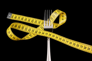 Diet concept, fork and measuring tape isolated on black