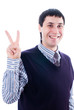 Man with victory sign