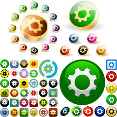 Gear buttons for web. Vector great collection.