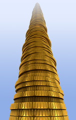 Gold coin stack. Financial success concept.