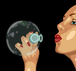 illustration of  girl and a big bubble
