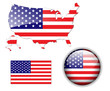 North American USA flag, map and button