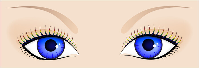 Human eyes with a blue pupil and multi-coloured eyelashes