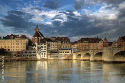 Fototapeta Mittlere Bridge and Basel waterfront, Switzerland