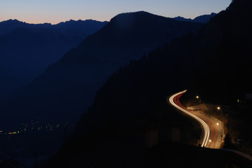 Night road in the mountains