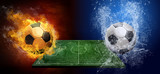 Fototapety Water drops and fire flames around soccer ball on the background
