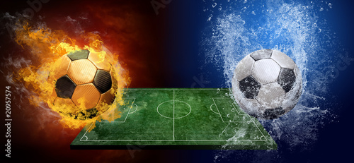 Foto op Canvas Vuur / Vlam Water drops and fire flames around soccer ball on the background