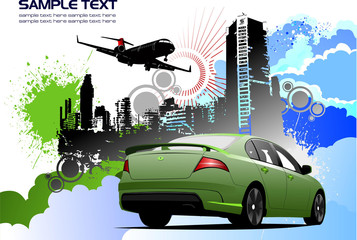 Grunge colored silhouette cityscape with car image. Vector illus