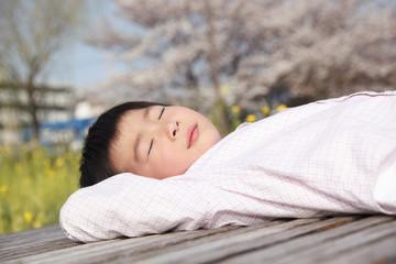 公園で昼寝する男の子