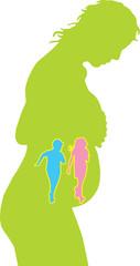 donna incinta verde