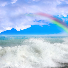 rainbow on the sea