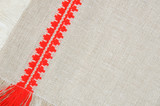 Linen pattern with red embroidery, close-up poster