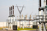 high-voltage substation with switch and disconnector poster