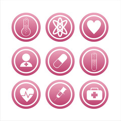 set of 9 pink medical signs