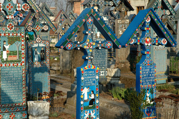 Painted crosses from the Merry cemetery of Sapanta, Maramures