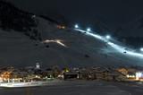 Ski village night scenario poster