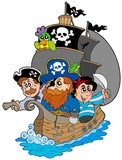 Fototapety Ship with various cartoon pirates
