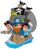 Fototapety Ship with various cartoon pirates