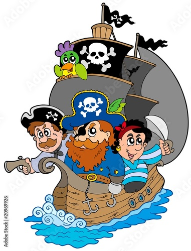 Deurstickers Piraten Ship with various cartoon pirates