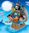Sailboat with cartoon pirates at night