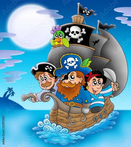 Deurstickers Piraten Sailboat with cartoon pirates at night