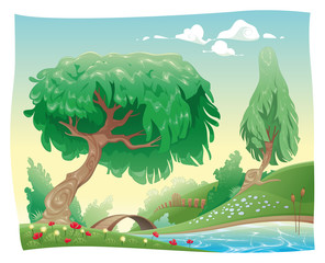 Countryside. Vector and cartoon landscape. Objects isolated.