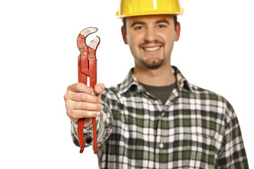 happy worker with red wrench