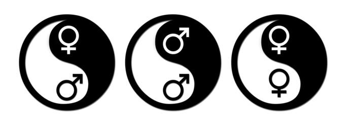 yin yang man/woman symbols