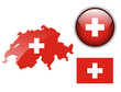 Switzerland flag, map and glossy button.