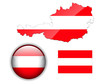 Austria flag, map and glossy button.