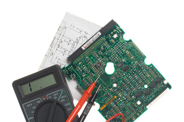 Printed circuit board, schematic and multimeter