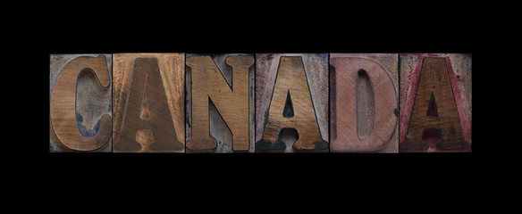 the word Canada in old letterpress wood type