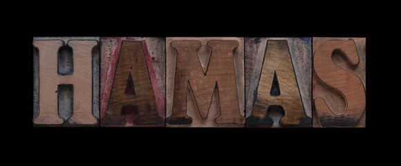 the word Hamas in old letterpress wood type