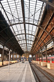 trainstation, glass of roof gives a beautiful harmonic structure poster