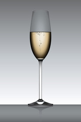 Vector Champagne Flute in Backlight