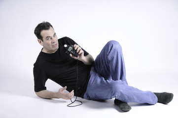 Man holding light meter