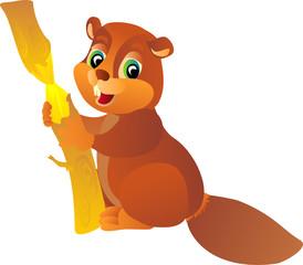 cartoon beaver, vector illustration