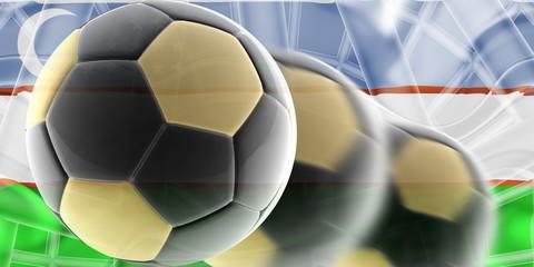 Flag of Uzbekistan wavy soccer