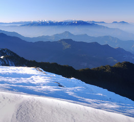 snow mountain scenery in asia.